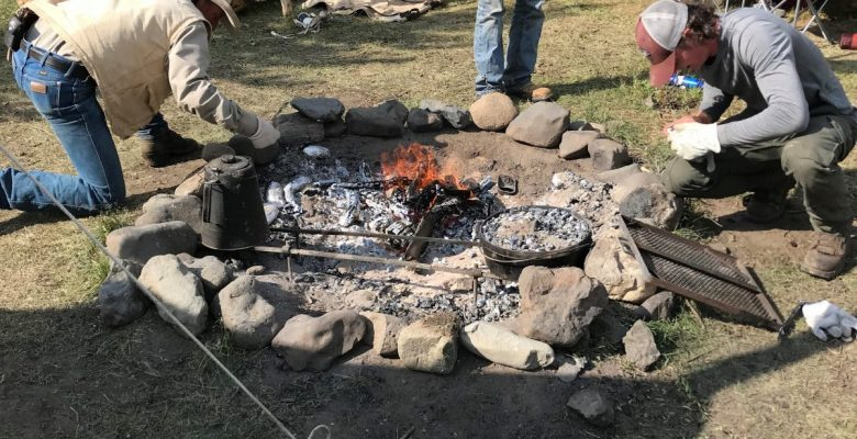 Camp fire cooking Camp Monaco Wyoming Summer Pack Trip with 307 Outfitters of Cody Wyoming